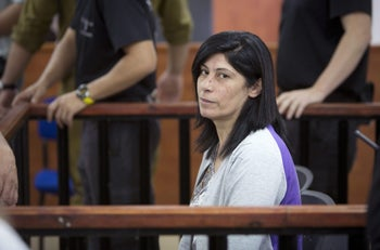 Khalida Jarrar in the courtroom of the Ofer detention facility, in May.