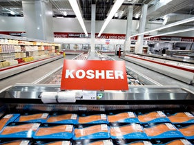 File Photo: Kosher salmon filets sit on display inside a Costco store in New York, U.S., November 11, 2009.