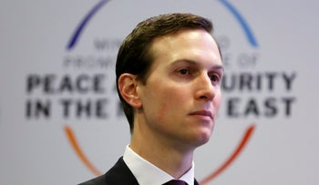 Jared Kushner looking on during the Middle East summit in Warsaw, February 14, 2019.