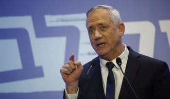 Benny Gantz delivers a speech following Attorney General Avichai Mendelblit's decision to indict Prime Minister Benjamin Netanyahu, pending a hearing, Tel Aviv, February 28, 2019.