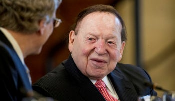 Sheldon Adelson is seen at a business round table with Japanese Prime Minister Shinzo Abe at the U.S. Chamber of Commerce in Washington, February 10, 2017.