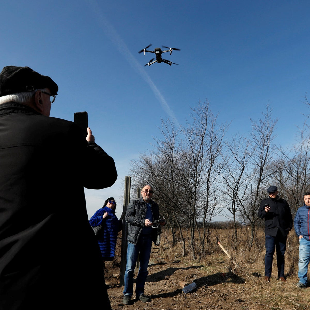 A drone take off over a jewish cemetery near the village of Reca, Slovakia, Feb. 26, 2019.