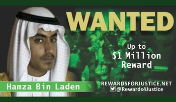A photograph circulated by the U.S. State Department's Twitter account to announce a $1 million reward for al-Qaida key leader Hamza bin Laden, son of Osama bin Laden, March 1, 2019.