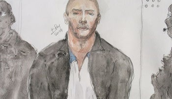 An illustration of Mehdi Nemmouche, suspected of perpetrating a terror attack at the Jewish Museum of Belgium on May 14, 2014, at his trial at the Justice Palace in Brussels, February 2019