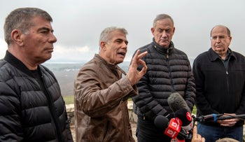 The four leading men in Kahol Lavan: Gabi Ashkenazi, left, Yair Lapid, Benny Gantz and Moshe Ya'alon in the Golan Heights, March 4, 2019.