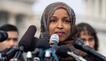 Minnesota Democrat Rep. Ilhan Omar speaking outside the U.S. Capitol in Washington, February 7, 2019.