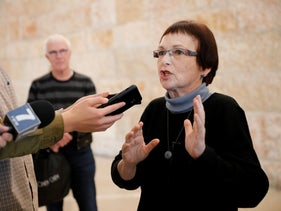 File photo: Prof. Yael Amitai speaks after a High Court discussion on her appointment to a German-Israeli scientific panel, Jerusalem, January 21, 2019.