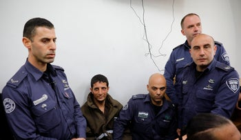 Arafat Irfaiya appears in a magistrate's court in Jerusalem, February 11, 2019.