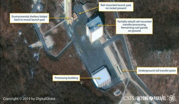 The Sohae Satellite Launching Station in a commercial satellite image taken over Tongchang-ri, North Korea on March 2, 2019 and released March 5, 2019.