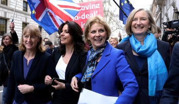 Former Labour Party MP Joan Ryan, left, with three Conservative MPs who left to join her in the Independent Group, February 20, 2019.