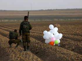 File photo: An incendiary balloon launched from Gaza was intercepted by an IDF drone. October 19, 2018.