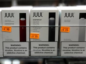 Juul brand vaping pens are seen for sale in a shop in New York City, U.S., February 6, 2019.