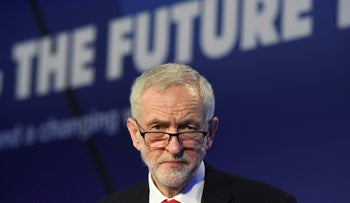 UK Labour Party leader Jeremy Corbyn speaks during the annual conference of the EEF manufacturers organisation in London. Feb. 19, 2019