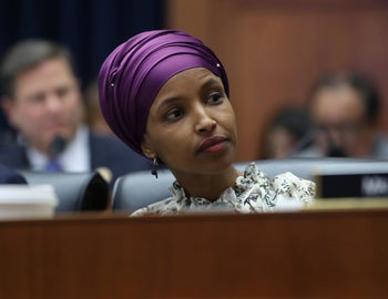 Rep. Ilhan Omar participating in a House Education and Labor Committee, Washington, March 6, 2019.