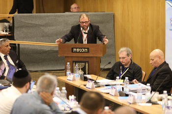 File photo: Hadash candidate Ofer Cassif speaks during a Central Elections Committee discussion, March 6, 2019.