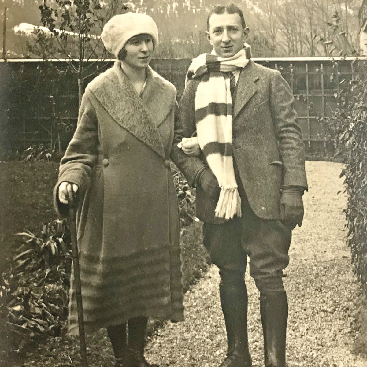 Georg and Charlotte Nomburg during an Alpine holiday, in the 1920s. Not long after, Georg's factory in Coburg went up in flames, and they were forced to leave town.