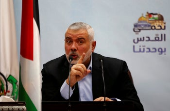 FILE PHOTO: Hamas Chief Ismail Haniyeh gestures as he delivers a speech in Gaza City January 23, 2018