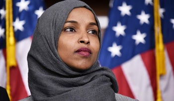 Then-representative-elect Ilhan Omar attends a press conference in the House Visitors Center at the U.S. Capitol in Washington, November 30, 2018.
