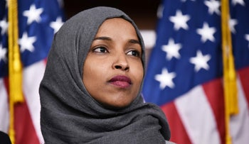 Then Representative-elect Ilhan Omar attends a press conference in the capitol, Washington D.C., November 30, 2018.