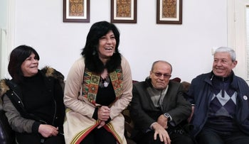 Khalida Jarrar at home after being released from Israeli prison, March 2019.
