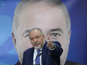Yisrael Beiteinu head Avigdor Lieberman at the launch of his party's 2019 election campaign, January 2019.