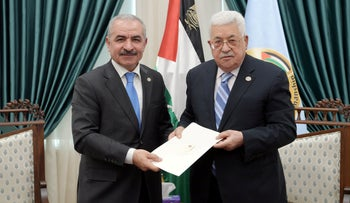 Mohammad Shtayeh and Palestinian Authority President Mahmoud Abbas in Ramallah, March 10, 2019
