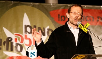 Moshe Feiglin at a pro-legalization rally in Tel Aviv in 2013.
