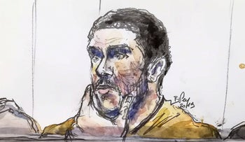 Mehdi Nemmouche, accused of the terrorist attack at the Jewish Museum in Brussels in 2014, during his trial at the Brussels Justice Palace, Brussels, Belgium, March 12, 2019.
