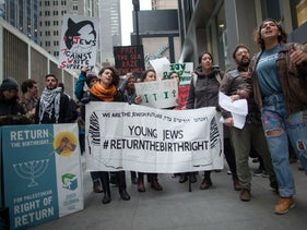 Protesters outside the Birthright gala event in New York, April 15, 2018.