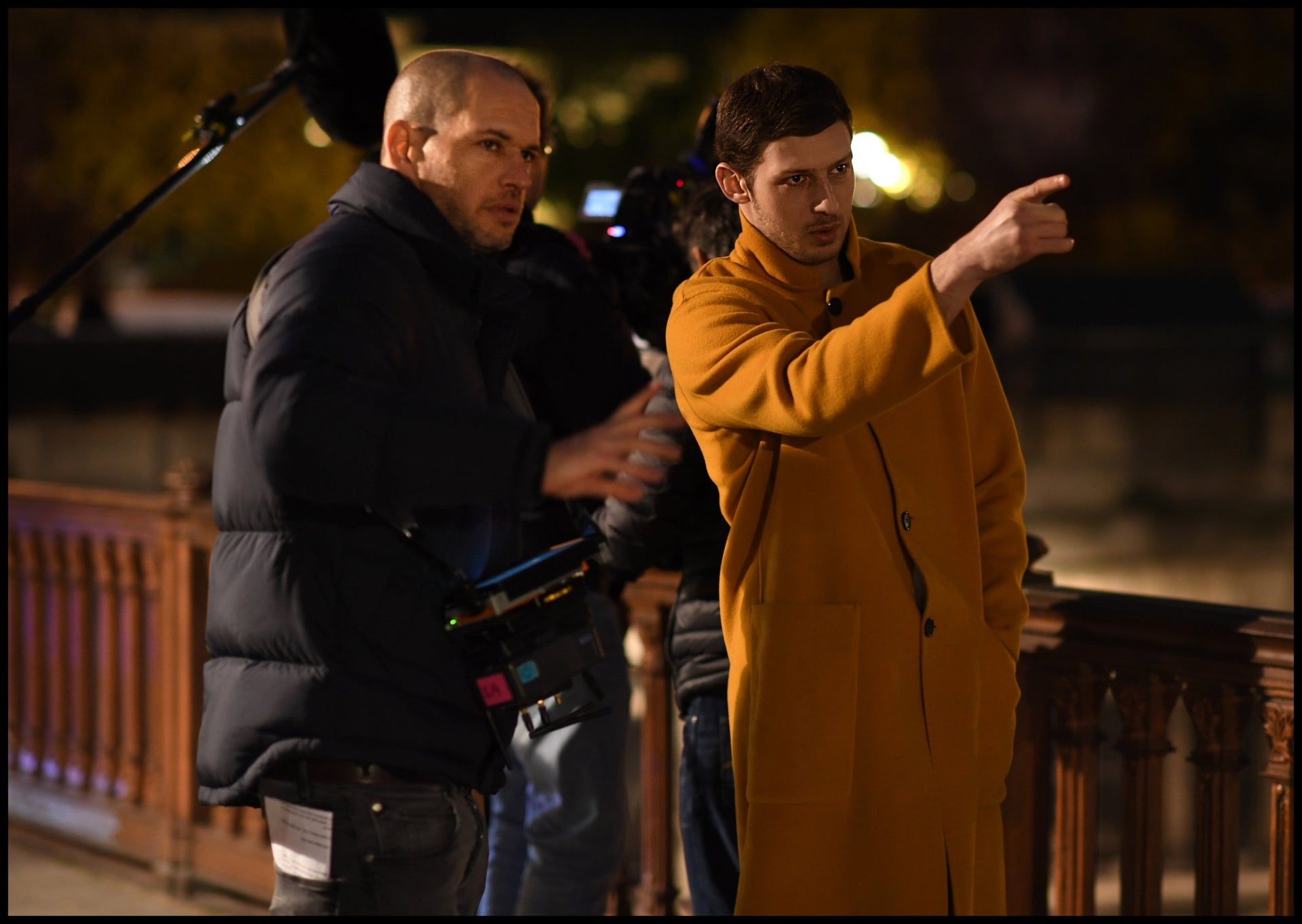 Mercier, right and Lapid on the set of 'Synonyms'. 'He told me that it's really interesting that Yoav is a soldier who wanted to contribute something and was an outstanding fighter.'