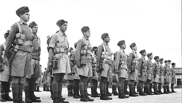 Soldiers from the British army transport unit whose members perished in the sinking of the SS Erinpura.