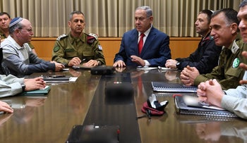 Prime Minister Benjamin Netanyahu holds security briefing with heads of Israel's security agencies, Tel Aviv, March 14, 2018.