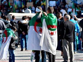 Algerians prepare for the first Friday rallies since the president's surprise announcement this week that he would not seek re-election, Algiers, March 15, 2019.