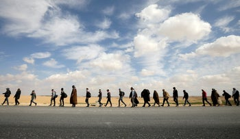 People marching from Aqaba to Amman demanding more employment opportunities, Jordan, February 20, 2019.