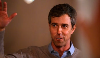 Former Texas Congressman and Democratic party Presidential Beto O'Rourke speaks to a crowd   during a campaign stop in Muscatine, Iowa on March 14, 2019.