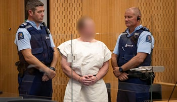 Brenton Tarrant, charged for murder in relation to the mosque attacks, is seen in the dock during his appearance in the Christchurch District Court, New Zealand, March 16, 2019.