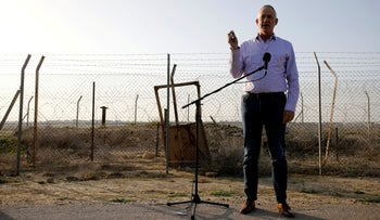 Benny Gantz, head of Blue and White party, speaks to the media in Kibbutz Nir-Am near the border with Gaza, on March 15, 2019.