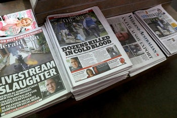 Front pages of Australia's major newspapers in Melbourne on March 16, 2019 reporting on the shooting attacks at two different mosques in Christchurch in New Zealand