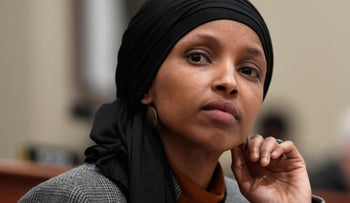 File photo: Rep. Ilhan Omar listens as Office of Management and Budget Acting Director Russ Vought testifies before the House Budget Committee on Capitol Hill in Washington, March 12, 2019.