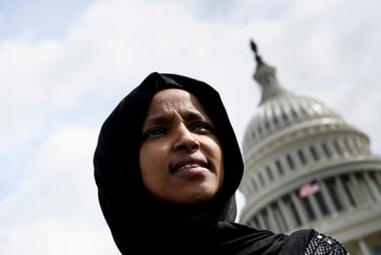 Rep. Ilhan Omar attends a youth climate rally on the west front of the U.S. Capitol, Washington, March 15, 2019.