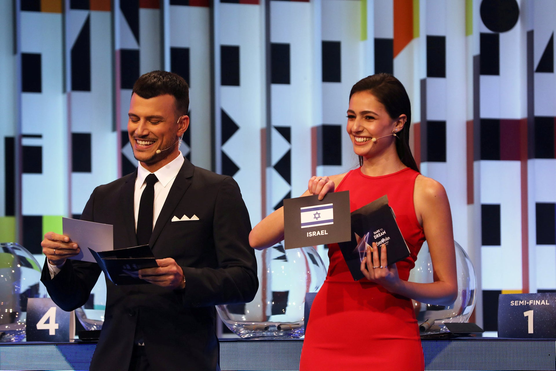 Two of Eurovision 2019 hosts, Assi Azar, left, and Lucy Ayoub, reveal the order in which countries will perform at the song competition.
