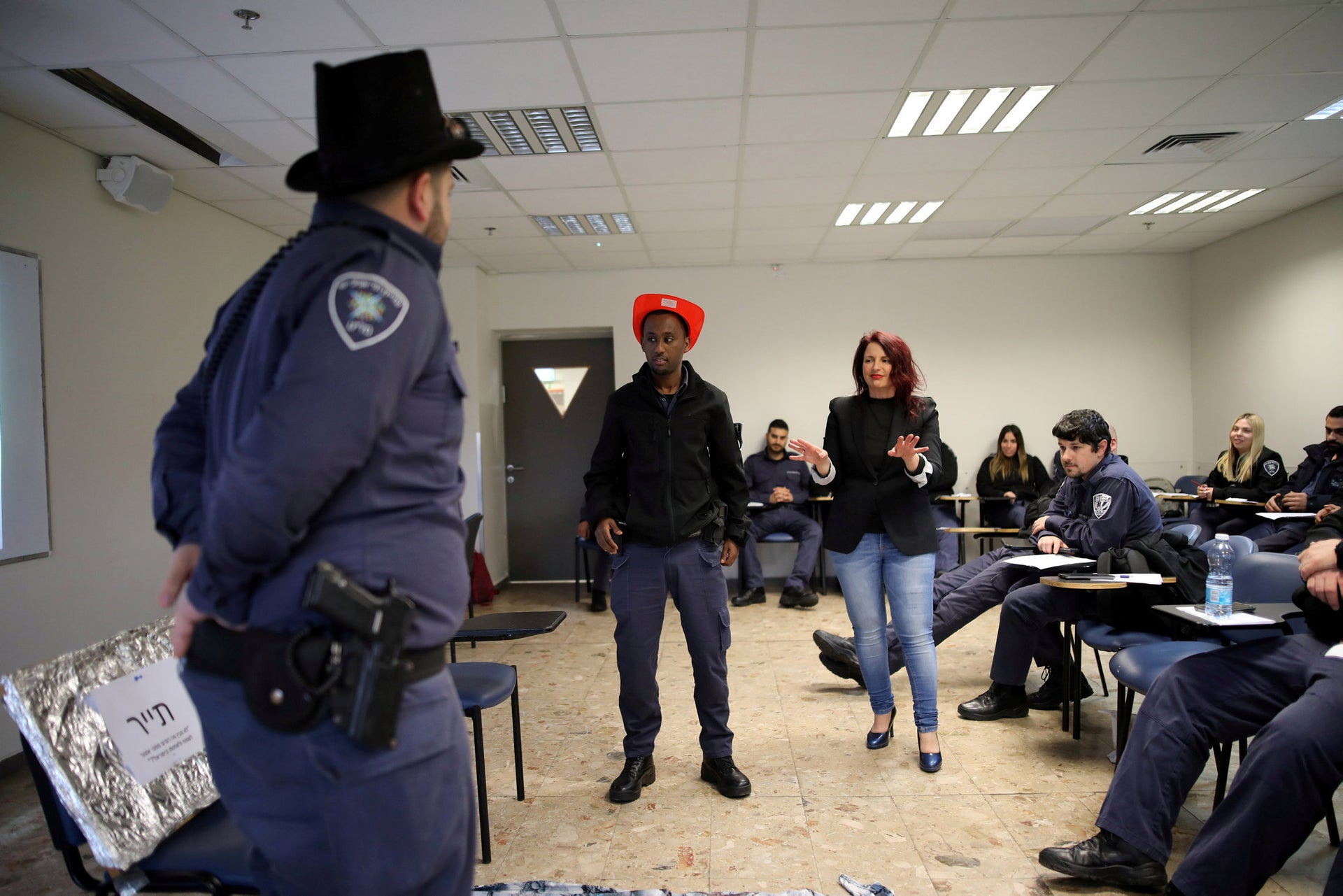 Israeli police officers participate in a special training session ahead of the Eurovision Song contest which will be held in Tel Aviv in May