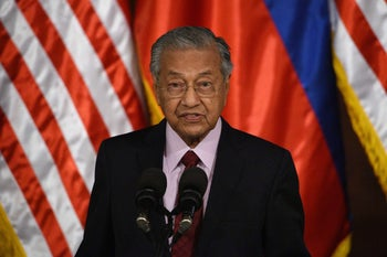 File photo: Malaysia's Prime Minister Mahathir Mohamad speaks during his joint statement with Philippines' President Rodrigo Duterte at the Malacanang Palace in Manila, March 7, 2019.
