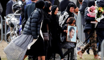 File photo: Mourners arrive for a burial service of a victim from the March 15 mosque shootings at the Memorial Park Cemetery in Christchurch, New Zealand, March 21, 2019.