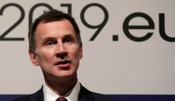 Britain's Foreign Secretary Jeremy Hunt speaks to the media during the informal meeting of the European Union foreign ministers in Bucharest, Romania, January 31, 2019.