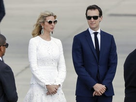 Ivanka Trump and Jared Kushner stand on the runway at Ben-Gurion Airport after arriving with U.S. President Donald Trump for an official visit to Israel, May 23, 2017.