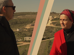 Daniella Weiss and Bradley Burston in the settlement of Havat Gilad