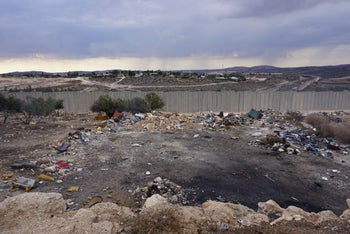 Electronic waste remains in the West Bank village of Idhna.