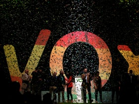 Santiago Abascal, the national president of VOX, applauds during a rally of the fledgling far-right party VOX in Madrid, Spain, on October 7, 2018.
