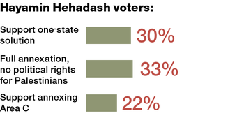 Where Hayamin Hehadash voters stand on possible solutions to the Israeli-Palestinian conflict.